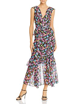 Amur - Evita Silk Ruffled Floral Dress