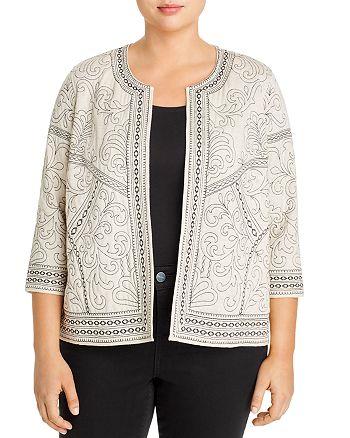 Daniel Rainn Plus - Embroidered Open-Front Jacket