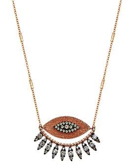 "Kismet By Milka - Champagne Diamond 10th Eye Regina Pendant Necklace in 14K Rose Gold, 19"""