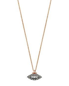 "Kismet By Milka - 14K Rose Gold Champagne & White Diamond Eye Haven Pendant Necklace, 18"""