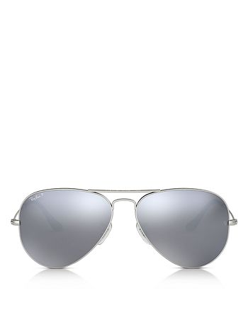 Ray-Ban - Unisex Polarized Mirrored Aviator Sunglasses, 58mm