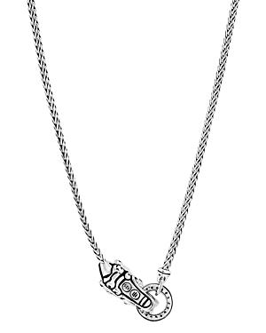 John Hardy Sterling Silver Legends Naga Diamond & Blue Sapphire Mini Dragon Necklace, 18