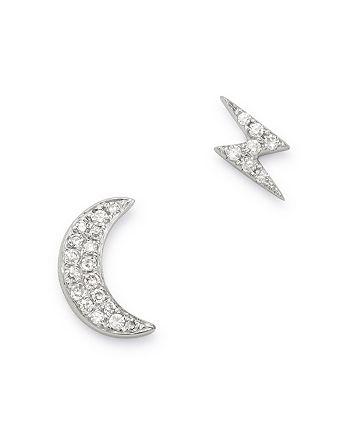 Bloomingdale's - Diamond Moon & Lightning Bolt Stud Earrings in 14K White Gold, 0.07 ct. t.w. - 100% Exclusive