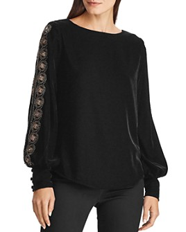 Ralph Lauren - Beaded Long-Sleeve Velvet Top