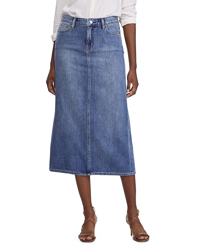 Ralph Lauren - Contrast-Stitched Faded Denim Midi Skirt