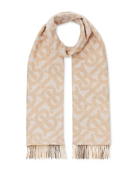Burberry - Monogram & Check Brushed Cashmere Scarf
