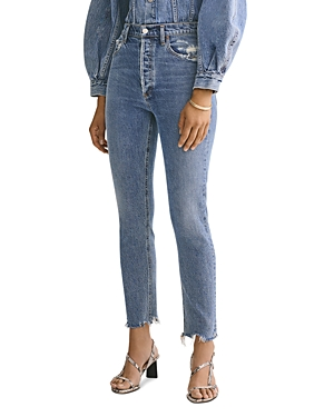 Agolde Nico High-Rise Ankle Slim Jeans in Rooted