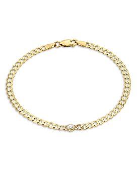 Zoe Lev - 14k Yellow Gold Diamond Evil Eye Bracelet