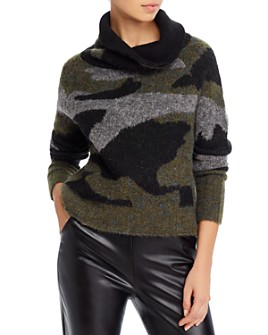 AQUA - Cowl-Neck Camo Sweater - 100% Exclusive