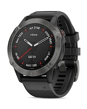 Fenix 6 Silicone Strap Carbon Gray Dlc Black Band Smartwatch
