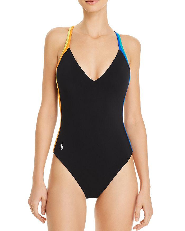 Ralph Lauren - Racing Stripe Plunge One Piece Swimsuit