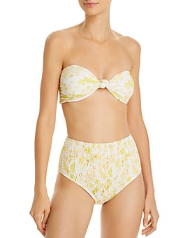 Charlie Holiday - Luna Bandeau Bikini Top & Cabo Smocked Brief Bikini Bottom