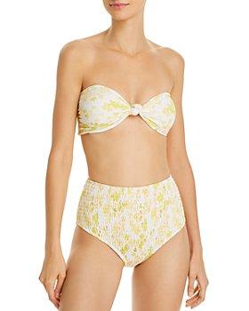 Charlie Holiday - Luna Bandeau Bikini Top & Cabo Smocked Brief Bikini Bottom