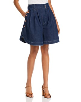 See by Chloé - Curved-Hem Wide Leg Denim Shorts