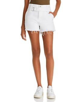 7 For All Mankind - Half-Belted Denim Cutoff Shorts in Optic White