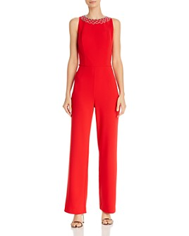 Laundry by Shelli Segal - Rhinestone-Embellished Stretch-Crepe Jumpsuit - 100% Exclusive