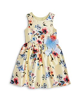 Pippa & Julie - Girls' Ribbon Appliqué Floral Print Dress - Little Kid