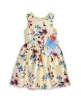 Pippa & Julie - Girls' Ribbon Appliqué Floral Print Dress - Little Kid
