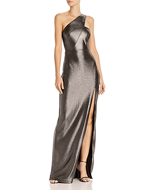 Metallic Knit One-Shoulder Gown