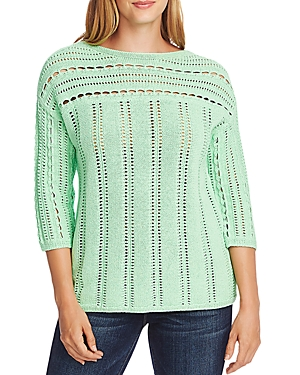 Vince Camuto Boat-Neck Open-Stitch Sweater