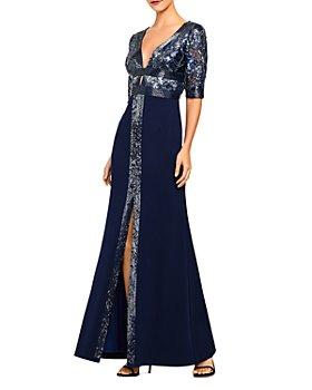 Aidan Mattox - Sequin Plunge Gown