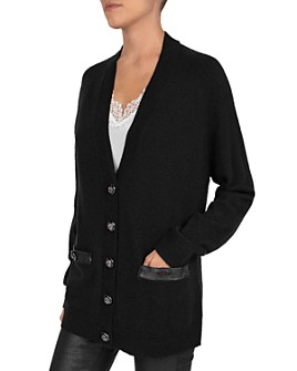 The Kooples - Leather-Trimmed Wool & Cashmere Cardigan