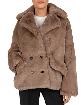 The Kooples - Candy Double-Breasted Faux-Fur Coat