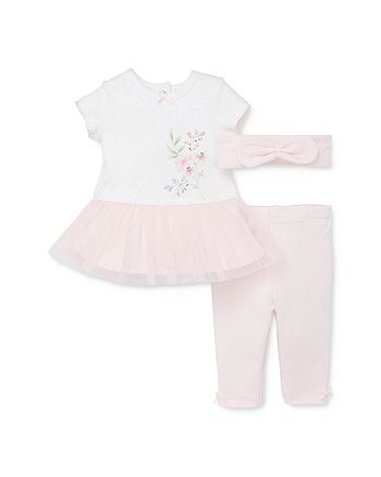 Little Me - Girls' Floral Peplum Tunic, Leggings & Headband Set - Baby