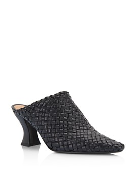 Bottega Veneta - Women's Woven Leather High-Heel Mules