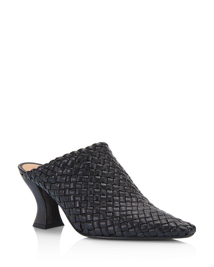 Bottega Veneta - Women's Woven Leather High-Heel Mules
