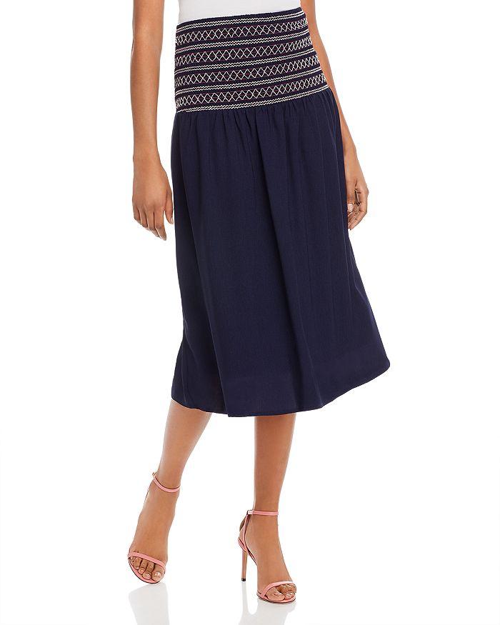 AQUA - Smocked-Waist Midi Skirt - 100% Exclusive