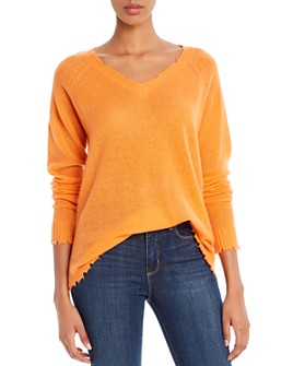 Minnie Rose - Distressed V-Neck Cashmere Sweater