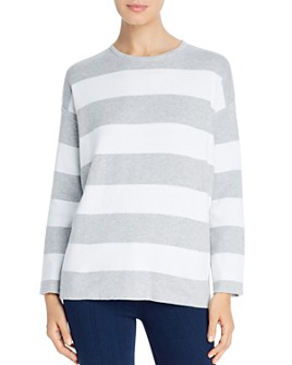 Eileen Fisher - Striped Organic Cotton Boxy Sweater