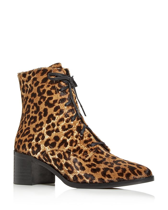 Freda Salvador - Women's Ace Cheetah-Print Calf Hair Pointed-Toe Booties Brand Name