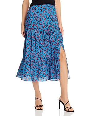 Paige Bestia Floral Print Tiered Midi Skirt