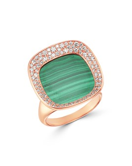 Roberto Coin - 18K Rose Gold Carnaby Street Malachite & Diamond Small Ring
