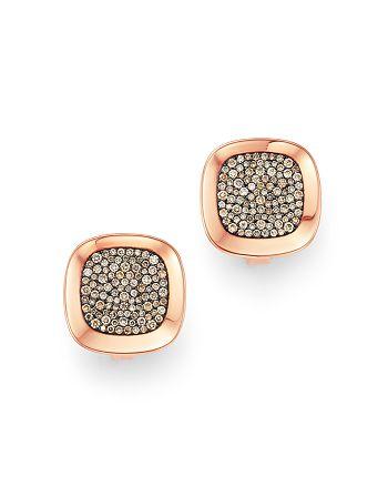 Roberto Coin - 18K Rose Gold Carnaby Street Cognac Diamond Stud Earrings