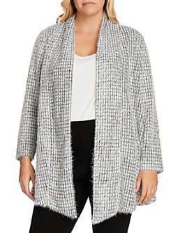 VINCE CAMUTO Plus - Open-Front Textured Cardigan