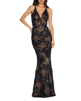 Dress the Population - Sharon Floral-Sequin Mermaid Gown