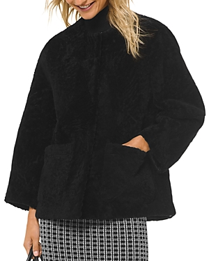 Michael Michael Kors Real Lamb Shearling Patch Pocket Jacket