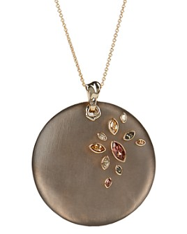 """Alexis Bittar - Crystal & Large Disc Pendant Necklace, 16"""""""