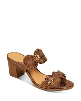 Jack Rogers - Women's Lauren Snake-Embossed Block Heel Sandals
