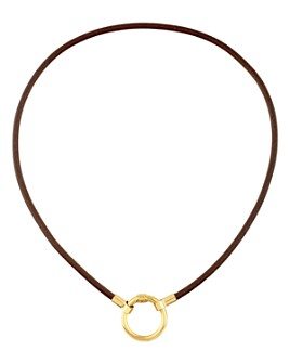 """TOUS - 18K Yellow Gold-Plated Sterling Silver Leather Hold Choker Necklace, 15.8"""""""