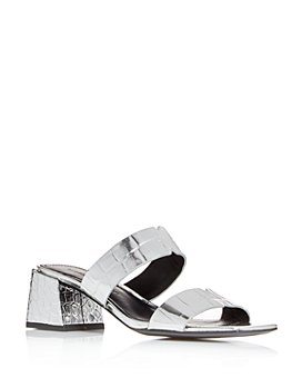 Sigerson Morrison - Women's Elda Croc-Embossed Block-Heel Slide Sandals