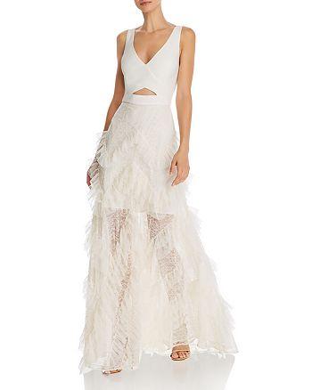 BCBGMAXAZRIA - Ruffled Skirt Cutout Gown