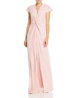 PAULE KA - Pleated Mousseline-Inset Twist-Detail Gown