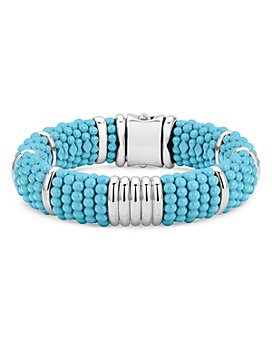 LAGOS - Sterling Silver Caviar Blue Ceramic Statement Bracelet