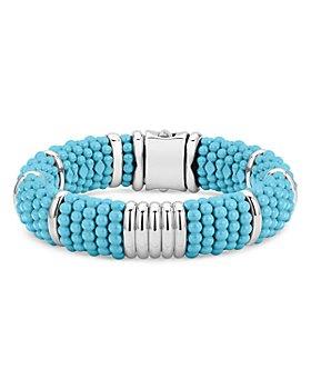 LAGOS - Sterling Silver Caviar Blue Ceramic Statement Bracelet