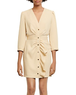 Sandro - Teana Ruched Snap-Front Mini Dress