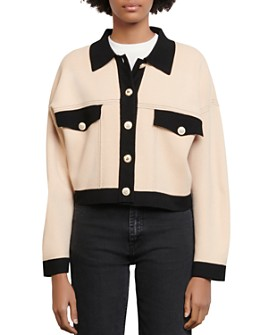 Sandro - Cher Cropped Contrast-Trim Knit Cardigan